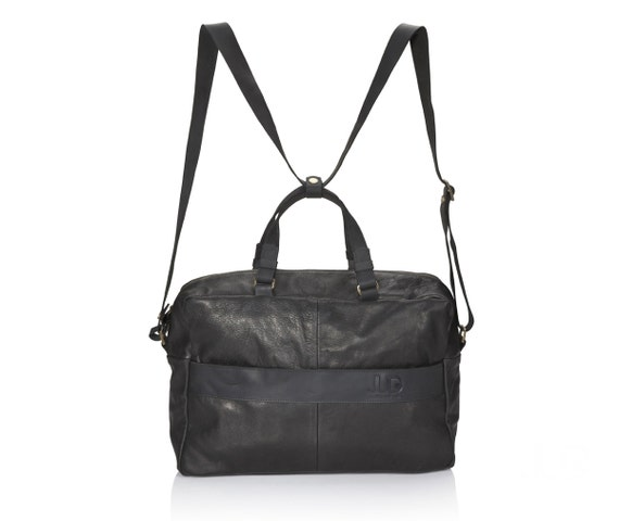 Black leather bag leather duffle SALE multi-way leather bag   Etsy cd137c4720