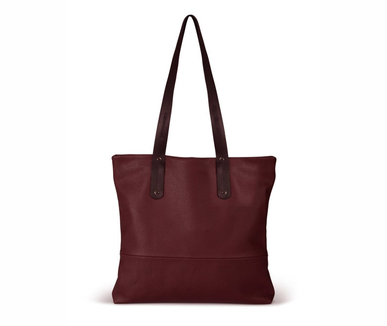 21b379830848 Bordeaux leather tote with zipper red leather bag women SALE
