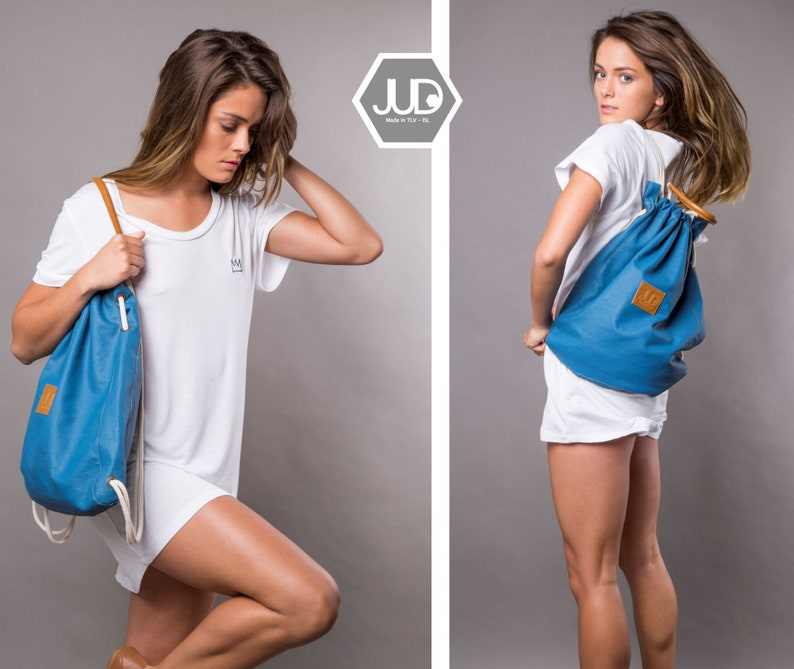 64d87d163c Blue drawstring backpack tote convertible back bag sack bag