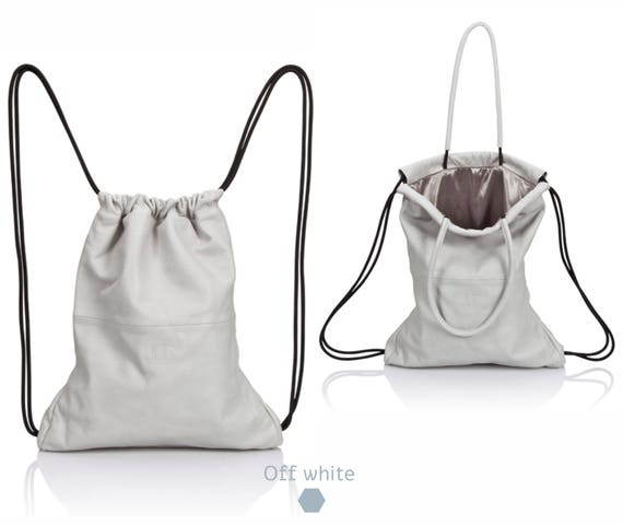 Backpack white leather backpack tote multi-way sack bag SALE   Etsy 9338eefd67