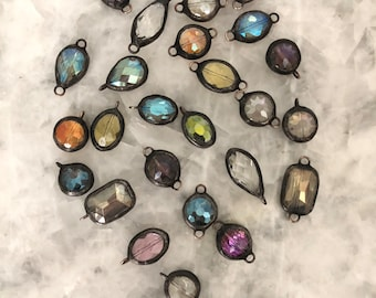 Handmade Jewelry Supply Assorted Colors Small Pendant Oval Soldered Crystal Charm ONLY Faceted Connector Drop