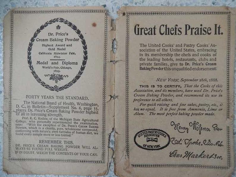 1893 Chicago World's Fair Table Kitchen Price baking Powder Booklet  Souvenir and Extra