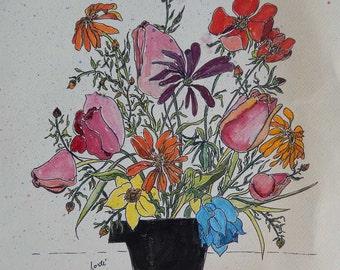Funky Flowers Original Watercolor & Pen  18x24