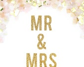 Mr & Mrs Glitter Banner - Mr and Mrs Glitter Garland - Wedding Sign // Newlywed Sign // Metallic Wedding Decoration