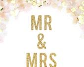 Mr & Mrs Glitter Banner - Mr and Mrs Glitter Garland - Wedding Sign // Newlywed Sign // Metallic Wedding Decoration