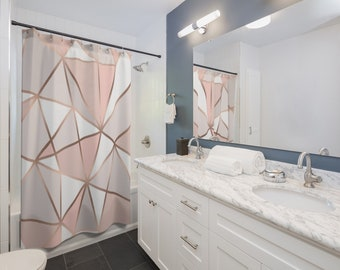 Rose Gold Abstract Geometric Shower Curtains