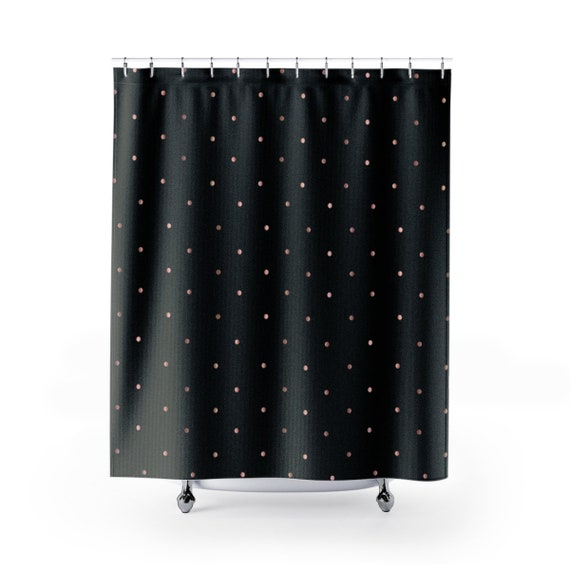 Rose Gold And Black Polka Dot Shower Curtains