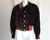 Escada Velvet Jacket by Margaretha Ley Size 38 Brown Quilted Bomber Vintage
