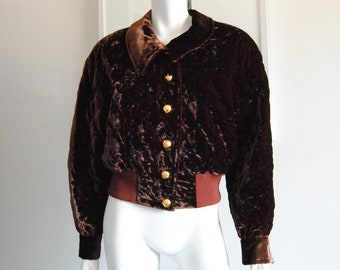 693abc461731 Escada Velvet Jacket by Margaretha Ley Size 38 Brown Quilted Bomber Vintage