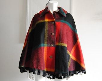 Vintage Red and Black Cape Coat Poncho Reversible Damask Paisley Cape Coat Poncho Hippie Boho Retro Festival