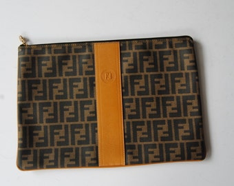 4144152636 Vintage Fendi Zucca Large Clutch Sleeve Pouch