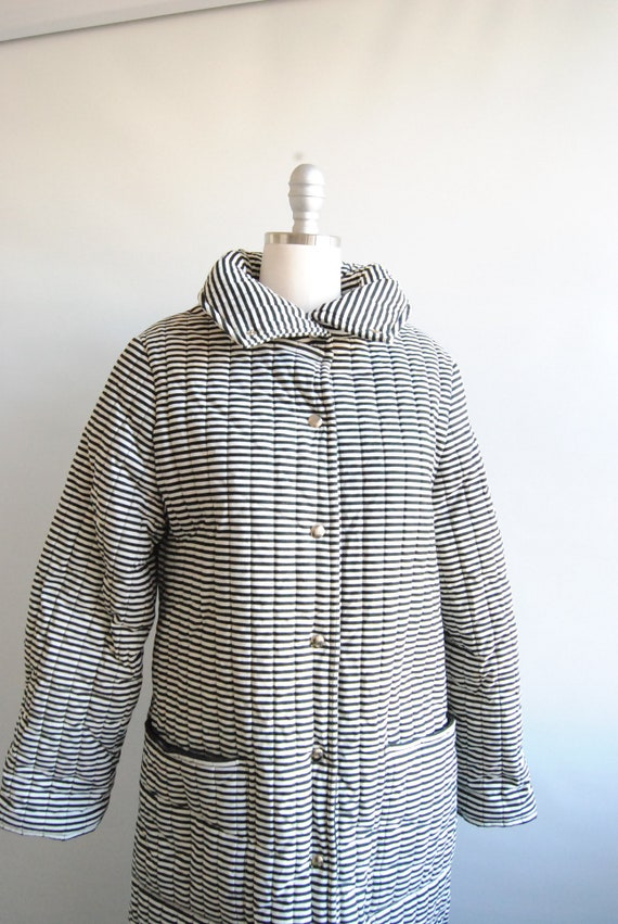 Vuokko Vintage Black and White Striped Outerwear … - image 2