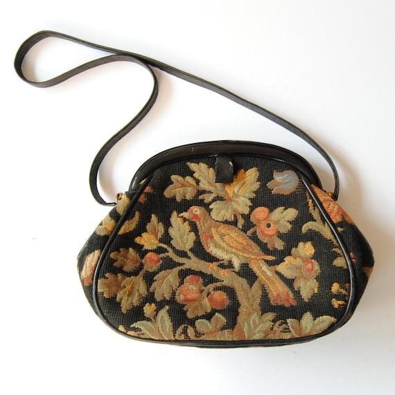 Nettie Rosenstein Black Leather Carpet Bag Tapestr