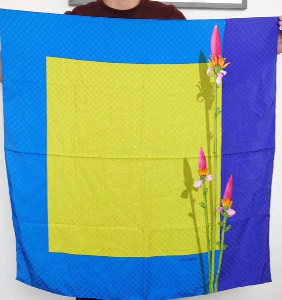 """33"""" Valentino Floral Square Silk Scarf Blue Purple"""