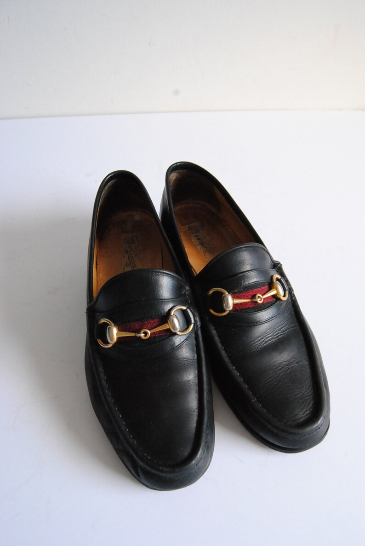 a022f86001c Gucci Loafers Sz 42 Men s Black Leather Horsebit Shoes