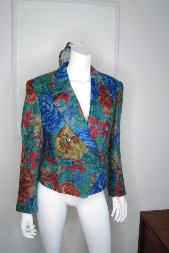 90s Kenzo Wool Floral Blazer Cropped Double Breast