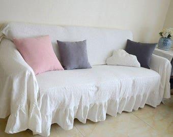 100% PURE RAMIE Custom Slipcovers Made To Measure   Ruffled Slipcover THROW  Cover Sofa Cover Sofa Couch Cover Farmhouse Cottage Decor