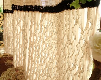 Last One Ruffled Vintage CUSTOM Shabby Rustic Chic Burlap Shower Curtain Country Black Trim Beige Soft Fancy
