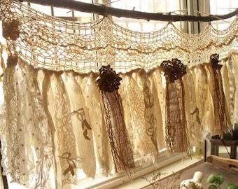 Custom Rustic Romantic ANTIQUE Lace Kitchen Valance Shabby BOHO Chic Vintage Crochet Lace Burlap Curtain Strip Fabric Banner Wedding Garland