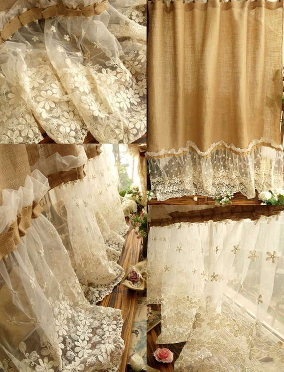 Shabby Washed Rustic Chic Burlap Shower Curtain Lace