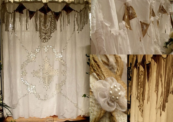 Antique Boho SHABBY Rustic Chic Burlap Lace SHOWER Curtain