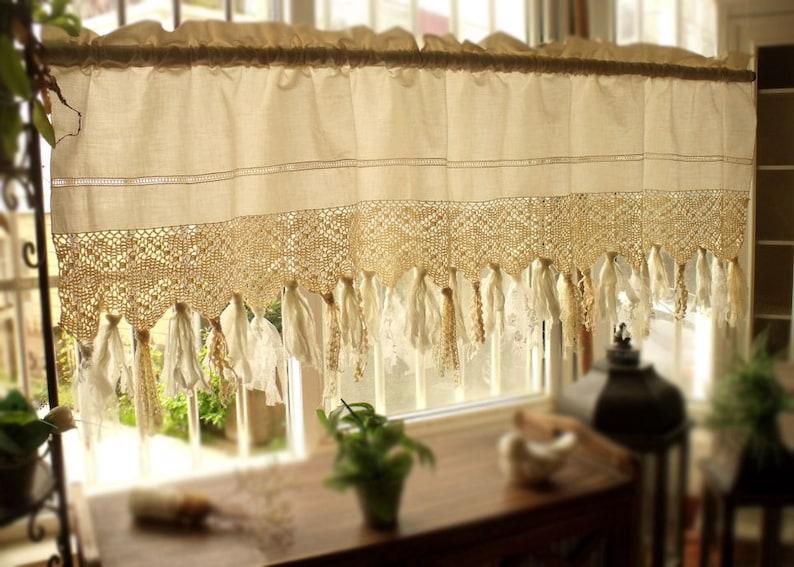 60 Wide Vintage Crochet  Window Treatment kitchen Valance Boho  Rag Curtain Cream Shabby Chic bathroom