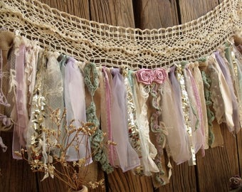 wide Lavander Mint & Gold Sequin Garland Banner Vintage Lace Burlap Curtain Valance Sparkle Curtain Crib Window Treatment