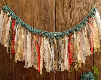Coral Mint Gold Sequin Fabric Garland Banner Wall Wedding Decorations  Nursery Backdrop Curtain Tassel