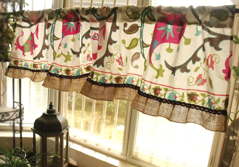 72\u201c Jacobean French Country Turquoise Floral Curtain Valance Burlap paisley Blue Brown BOHO