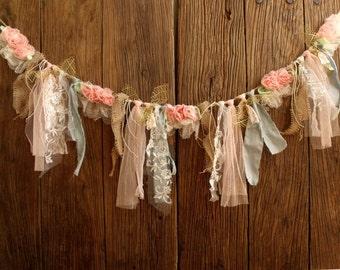 5ft Peach Mint Burlap Golden Lace Fabric Flower Garland Hanging Rag Wedding backdrop Nursery