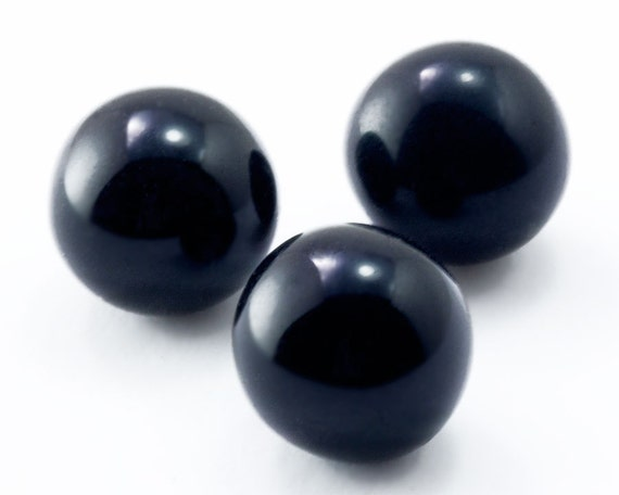 60pcs 10mm Vintage Black Glass Marbles Vintage Czech Solid Etsy