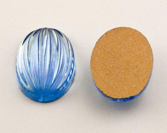 Flat Back VINTAGE 5mm Dark Navy Blue Czech Glass Cabochons Round Qty 36