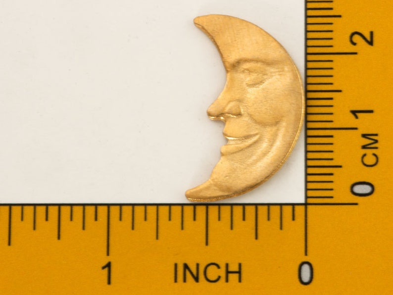 Castings Man in the Moon 1 72 Vintage Crescent Moon Charms Commercial Jewelry Supply Destash Goldtone Pewter Jewelry Finding 25mm