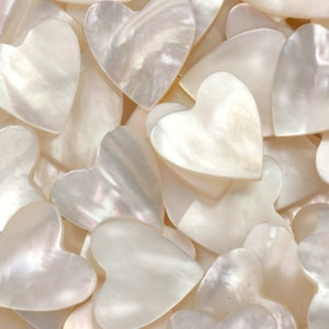 Quantity 2 Genuine Mother of Pearl 15mm Mother of Pearl MOP Heart Dangles Genuine Shell, A1-7-3-back
