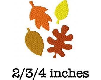 Autumn fall leaves Thanksgiving 2/3/4 inch machine embroidery design instant download