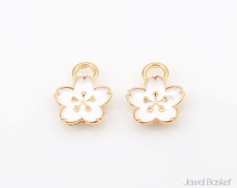 White Peony in Gold / 9.0mm x 11.0mm / BWHG209-P (4pcs)