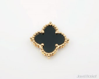 Black Onyx Clover Pendant in Gold, 1piece of Black Onyx Clover Necklace Pendant / 19mm x 19mm / SBOG050-P (1piece)