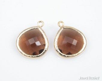 2pcs - Smoky Quartz Color and Gold Framed Glass Pendent / brown / smoky quartz / 16k gold plated / drop pendant / 15 x 18mm / SSQG007-P