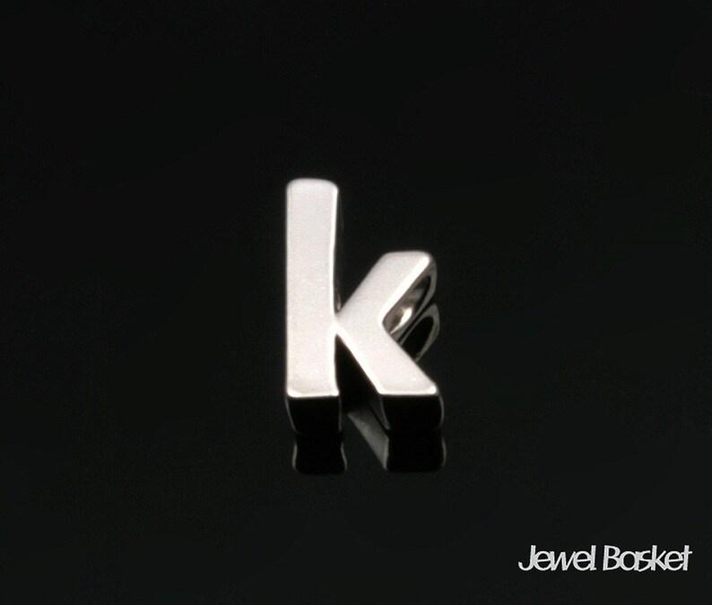 Matte Rhodium Lower Case Alphabet Small Letter k  4.2mm x 7.2mm  BMS128-k 2pcs