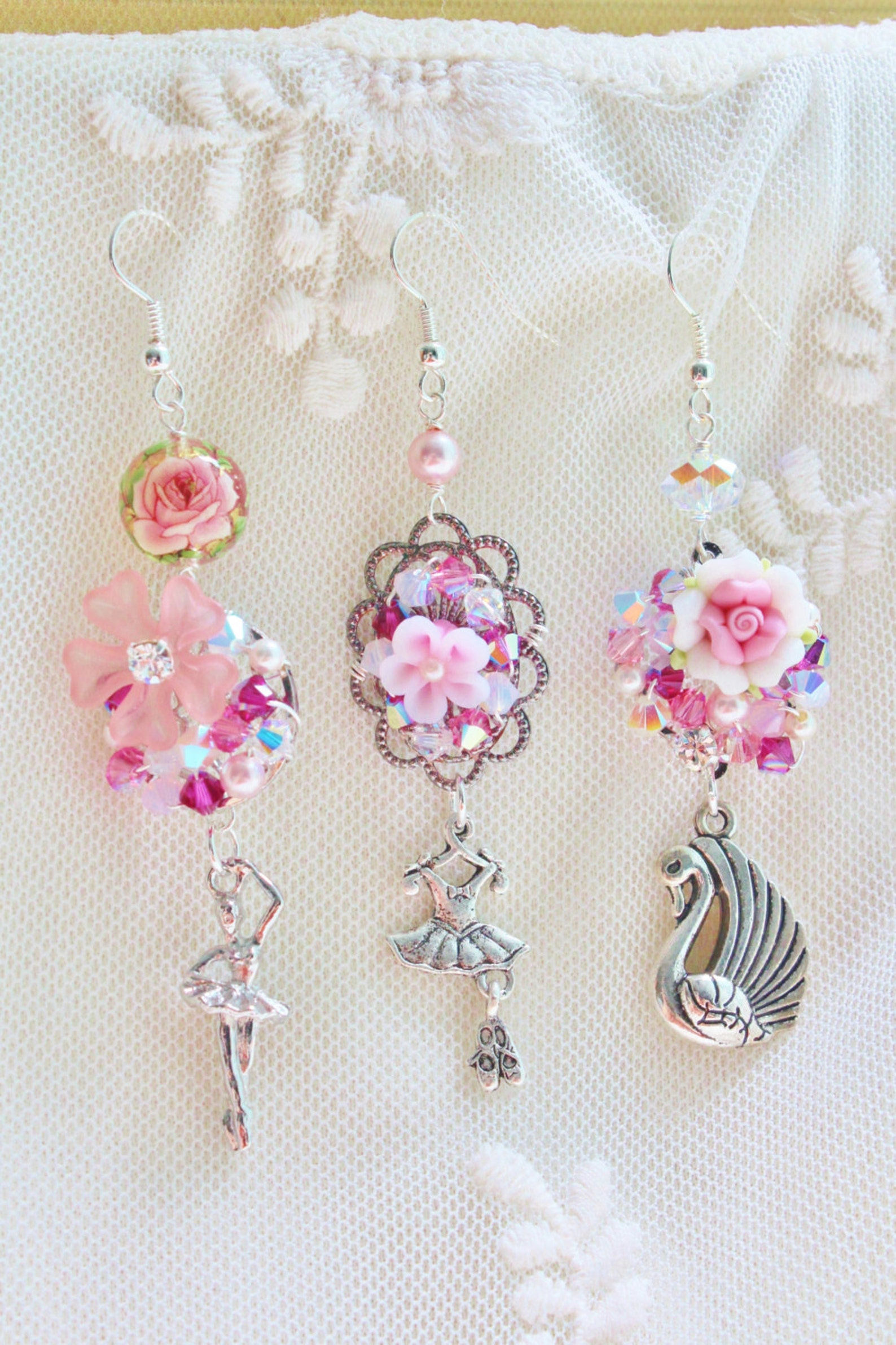 swan lake ballerina trio mismatched earrings - romantic jewelry - pewter tutu skirt, ballet slippers, swan charms, pink polymer