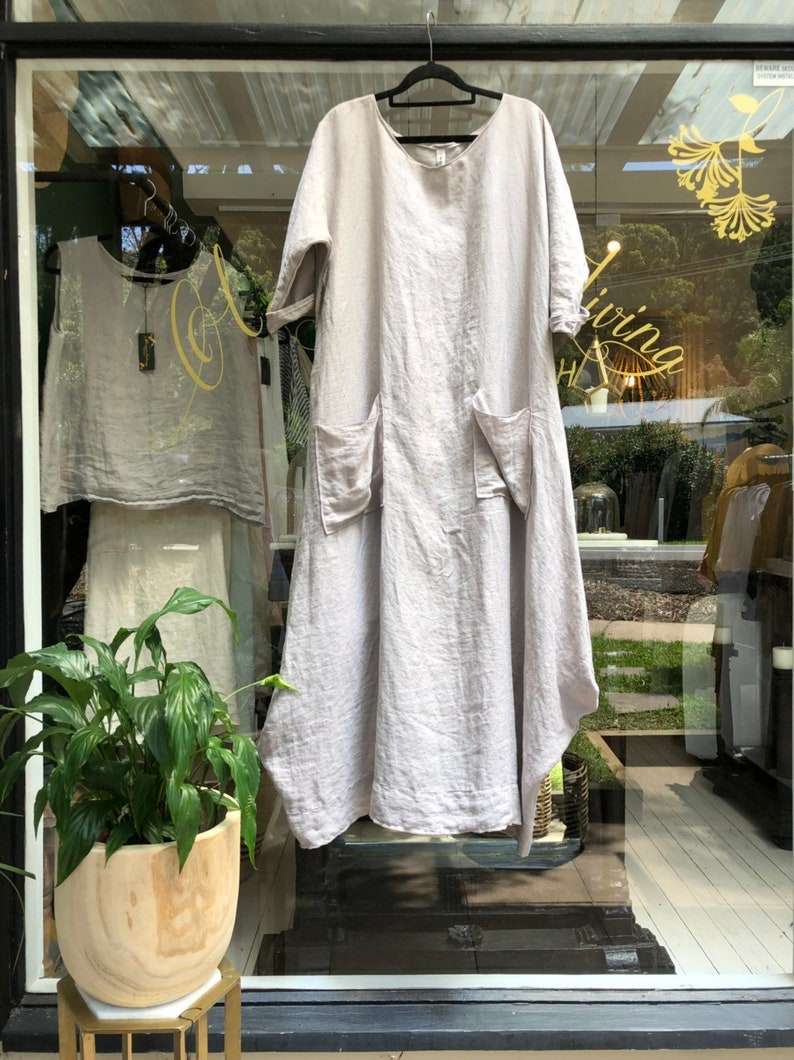 Womens French Linen Dress.Free size.Made to order. image 0