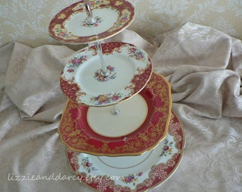 4-Tier Vintage China Red Gold Floral Tea Cake Stand Cupcake Server