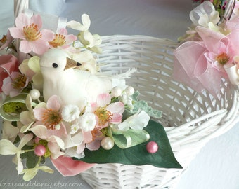 Pink Dogwood Blush Hydrangea Silk Flower White Dove Bird Nest Easter Basket