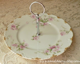 Pink Green Floral Daisy 1-Tier Cupcake Tea Cake Vintage China Server