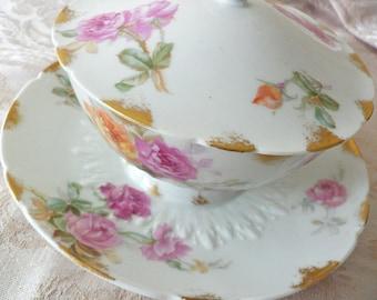Limoges GDA France Pink Orange Floral Rose Lidded Relish Sauce Jam Dish with Attached Plate