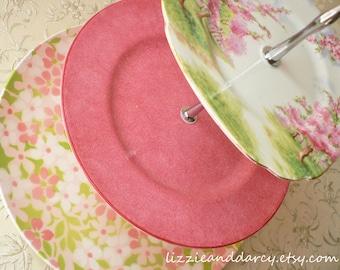 Pink Lime Spring 3-Tier Cupcake Tea Cake Vintage China Server