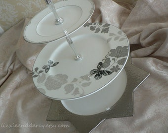 3-Tier Vintage China Silver Gray Black White Butterfly Star Tea Cake Stand Cupcake Server