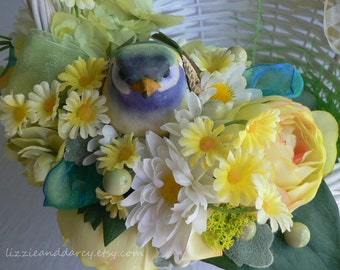 Yellow Rose White Daisy Green Hydrangea Silk Flower Bird Nest Easter Basket