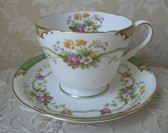 Shelley Dubarry Pattern Richmond Shape Green Floral Oversized Cup and Saucer