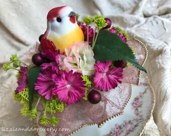 Pink Carnation Fuchsia Sweet William Mauve Berry Repurposed Teacup Bird Nest Silk Floral Arrangement